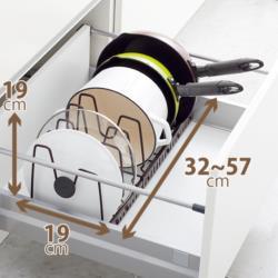 ファビエ 伸縮式フライパン&鍋ブタスタンド(FV30)